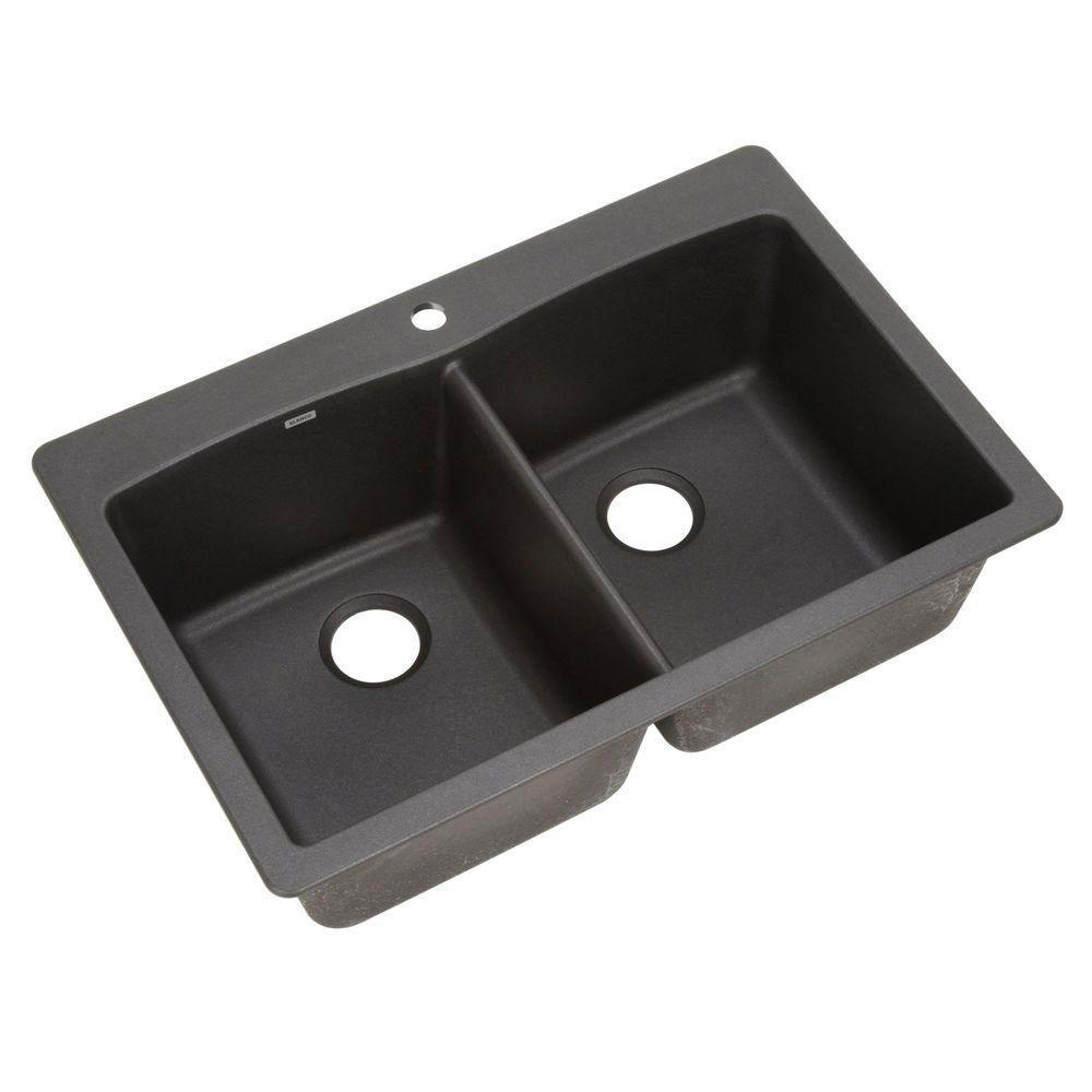 Blanco Diamond Dual Mount Composite 33 inch 1-Hole Double Bowl Kitchen Sink in Anthracite 540033