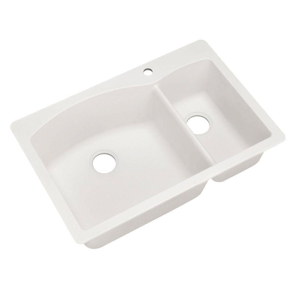 Blanco Diamond Dual Mount Composite 33x22x9.5 inch 1-Hole Double Bowl Kitchen Sink in White 566669
