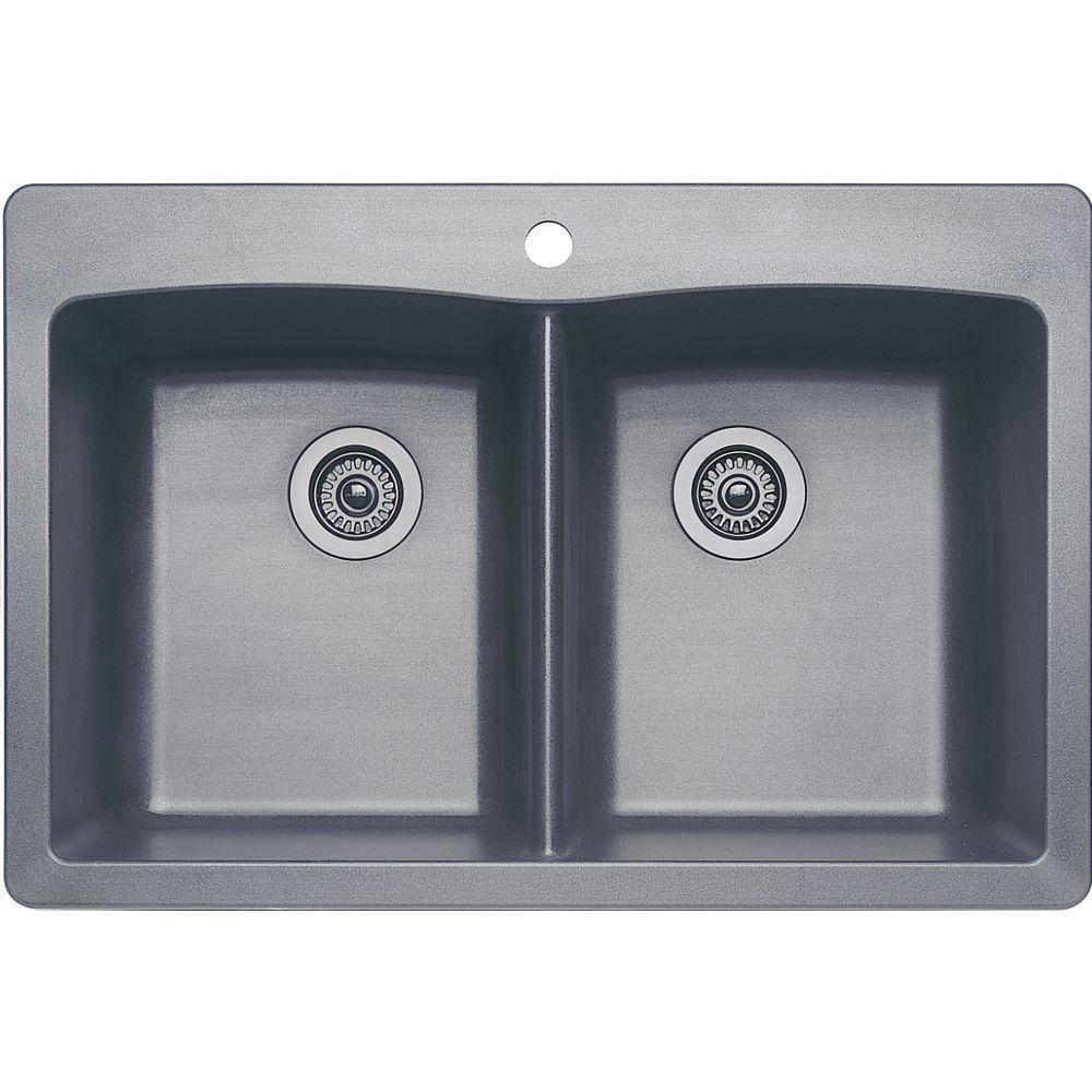 Blanco Diamond Dual Mount Composite 22x9.5x33 1-Hole Double Bowl Kitchen Sink in Metallic Gray 566701