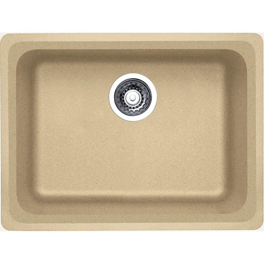 Blanco Vision Undermount Composite 24x18x8 0-Hole Single Bowl Kitchen Sink in Biscotti 573770