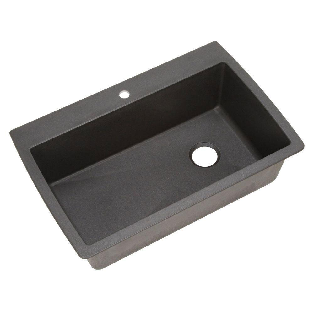 Blanco Diamond Dual Mount Granite 32 inch 1-Hole Single Bowl Kitchen Sink in Anthracite 596689