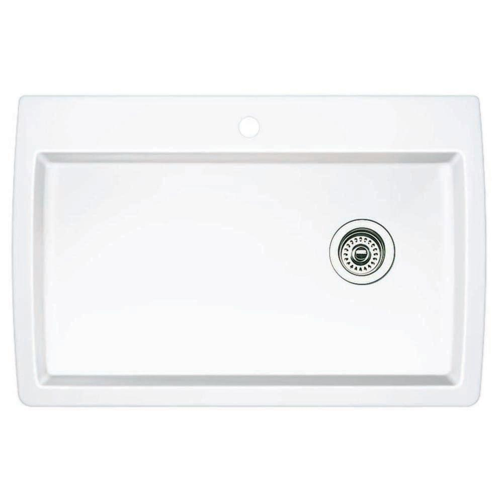 Blanco Diamond Dual-Mount Composite 32-3/4x22x9.5 1-Hole Single Bowl Kitchen Sink in White 628601