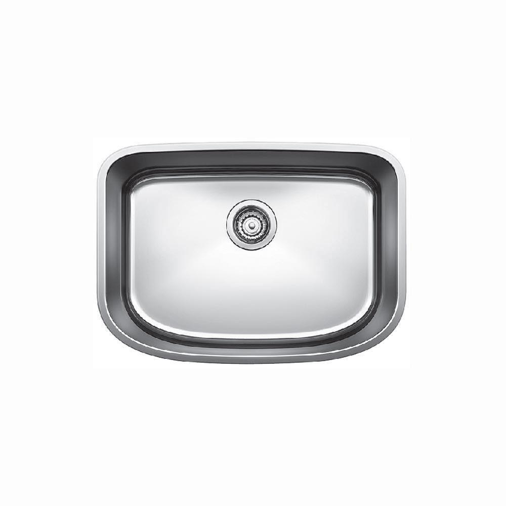 blanco undermount stainless steel 23x9x14 0 hole single bowl kitchen sink in stainless steel 675751. beautiful ideas. Home Design Ideas