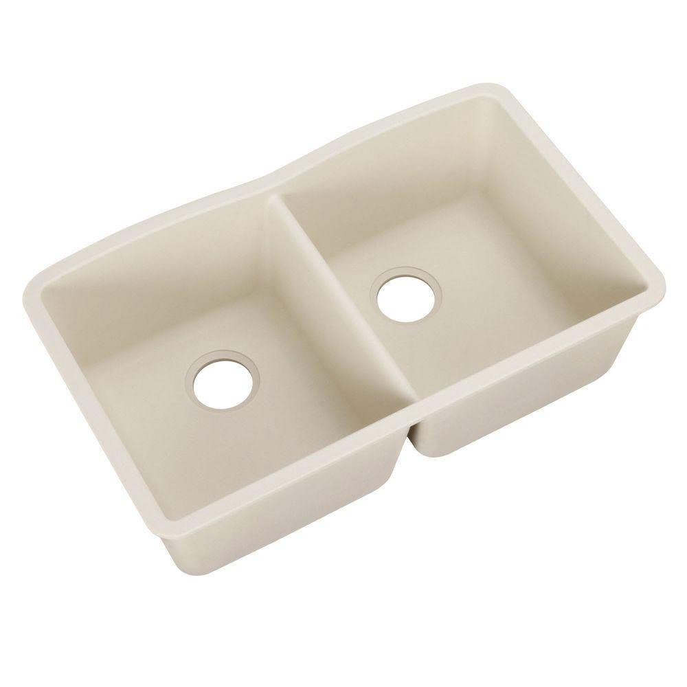 Blanco Diamond Undermount Composite 32x19.25x9.5 0-Hole Double Bowl Kitchen Sink in Biscuit 715689