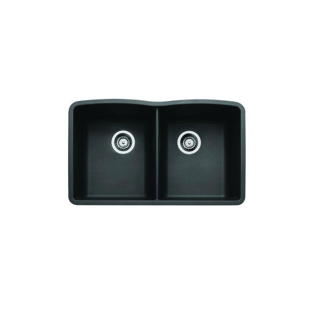 Blanco Diamond Undermount Composite 32x19.25x9.5 inch 0-Hole Double Bowl Kitchen Sink in Anthracite 715697