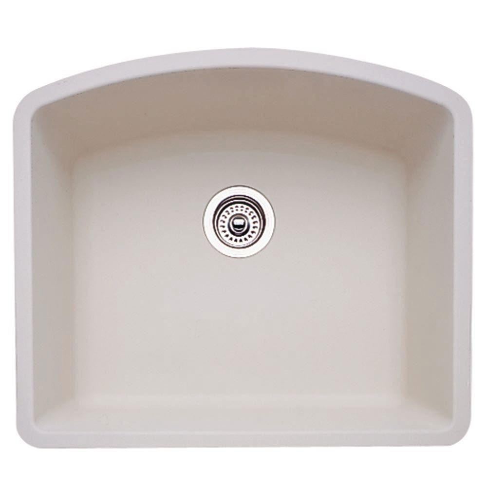 Blanco Diamond Undermount Granite 24 inch 0-Hole Single Bowl Kitchen Sink in Biscuit 715713