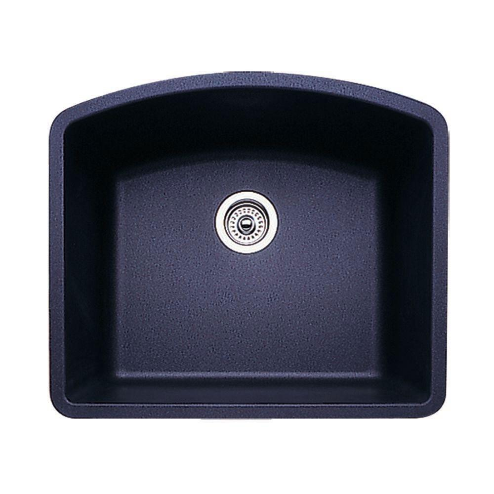 Blanco Diamond Undermount Granite 24 inch 0-Hole Single Bowl Kitchen Sink in Anthracite 715721
