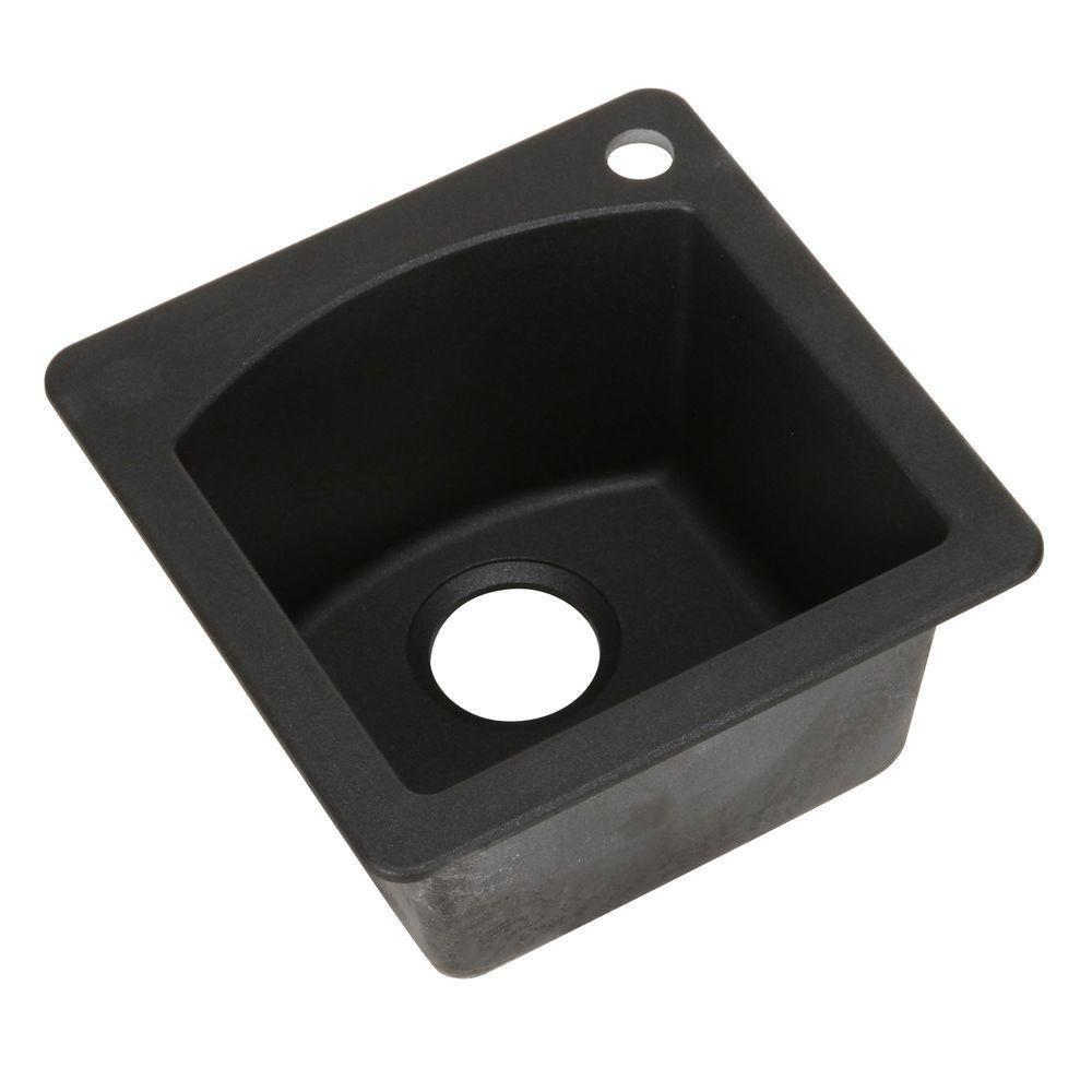 Blanco Diamond Dual Mount Granite 15 inch 1-Hole Single Bowl Bar Sink in Anthracite 783129