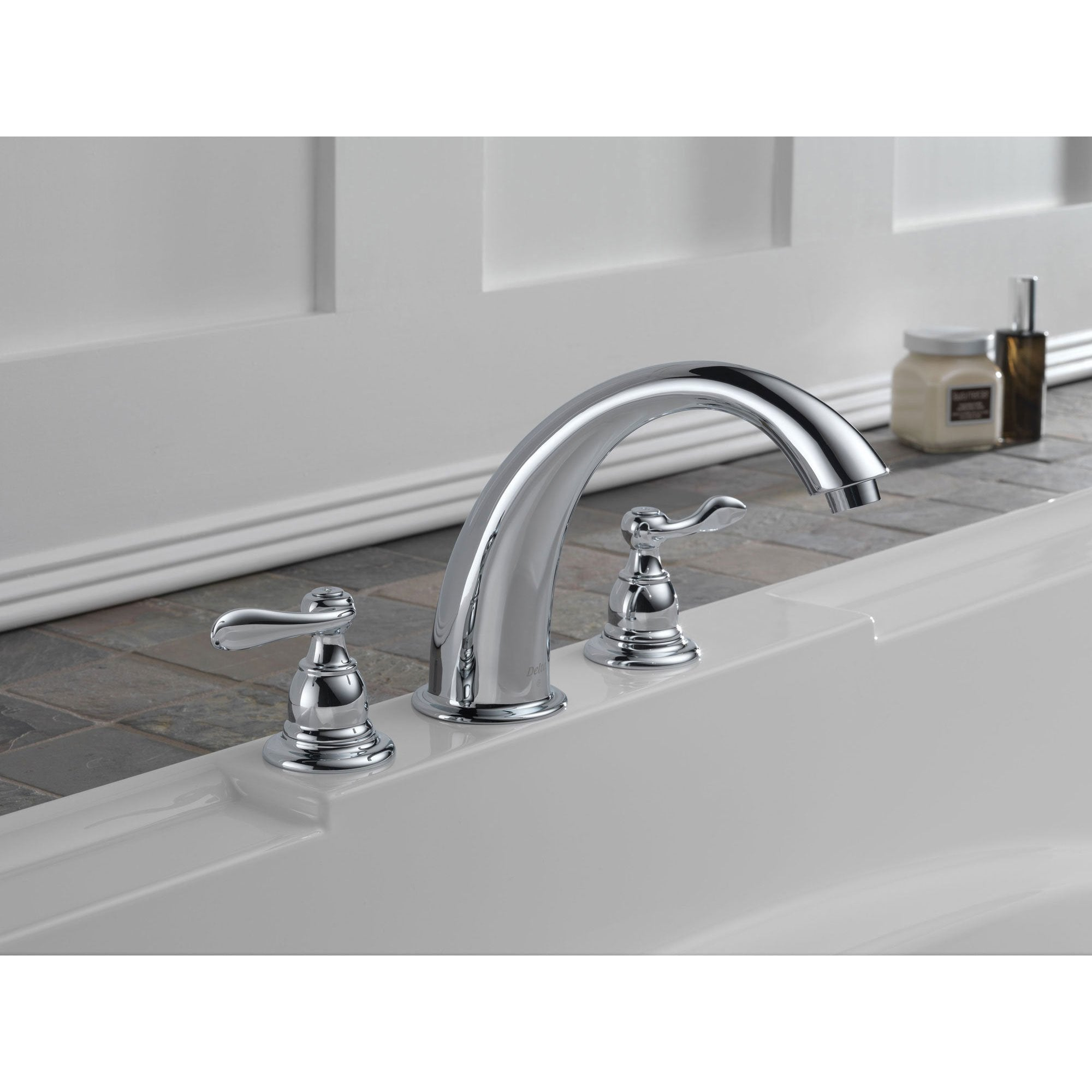 Delta Windemere Chrome Widespread Deck Mount Roman Tub Faucet With Val Faucetlist Com