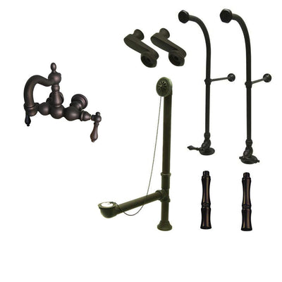 Freestanding Floor Mount Oil Rubbed Bronze Metal Lever Handle Clawfoot Tub Filler Faucet Package 1001T5FSP