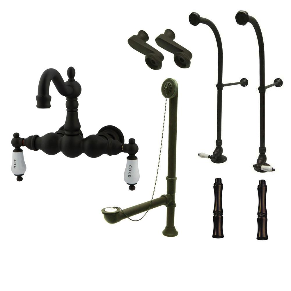 Freestanding Floor Mount Oil Rubbed Bronze Hot/Cold Porcelain Lever Handle Clawfoot Tub Filler Faucet Package 1003T5FSP