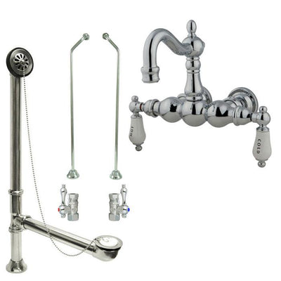 Chrome Wall Mount Clawfoot Tub Faucet Package w Drain Supplies Stops CC1004T1system
