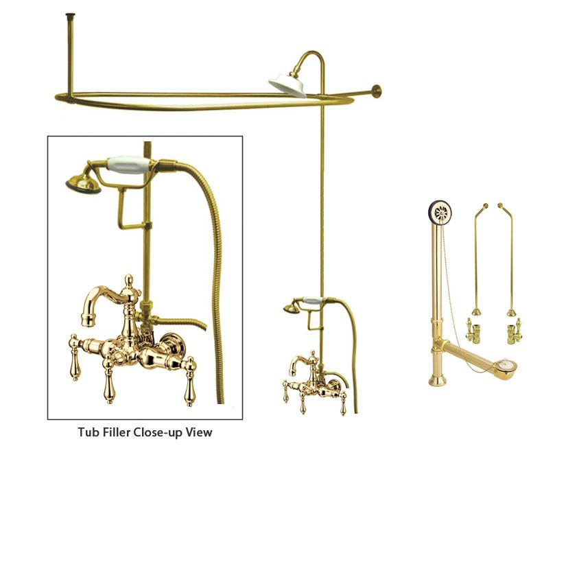 Polished Brass Clawfoot Tub Faucet Shower Kit with Enclosure Curtain Rod 1007T2CTS