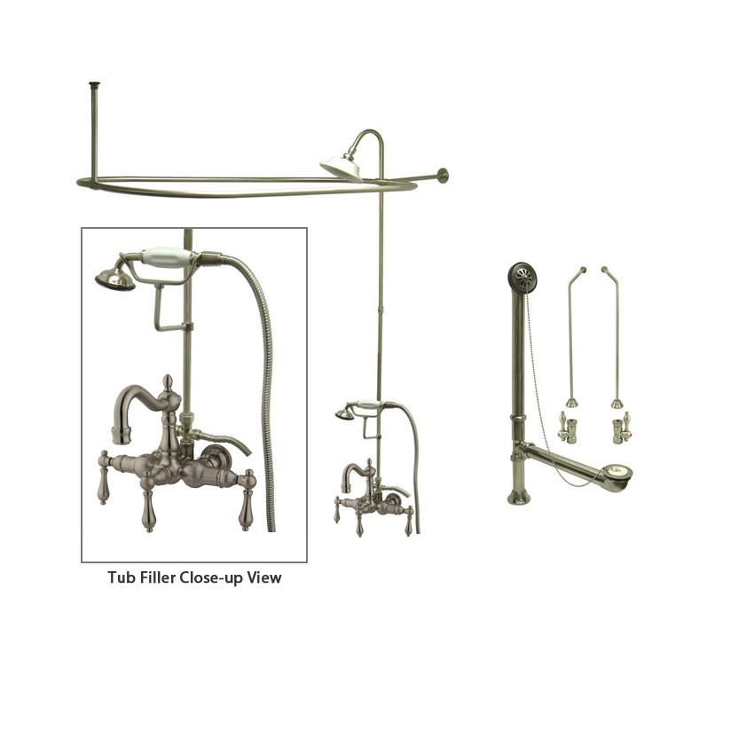 Satin Nickel Clawfoot Tub Faucet Shower Kit with Enclosure Curtain Rod 1007T8CTS