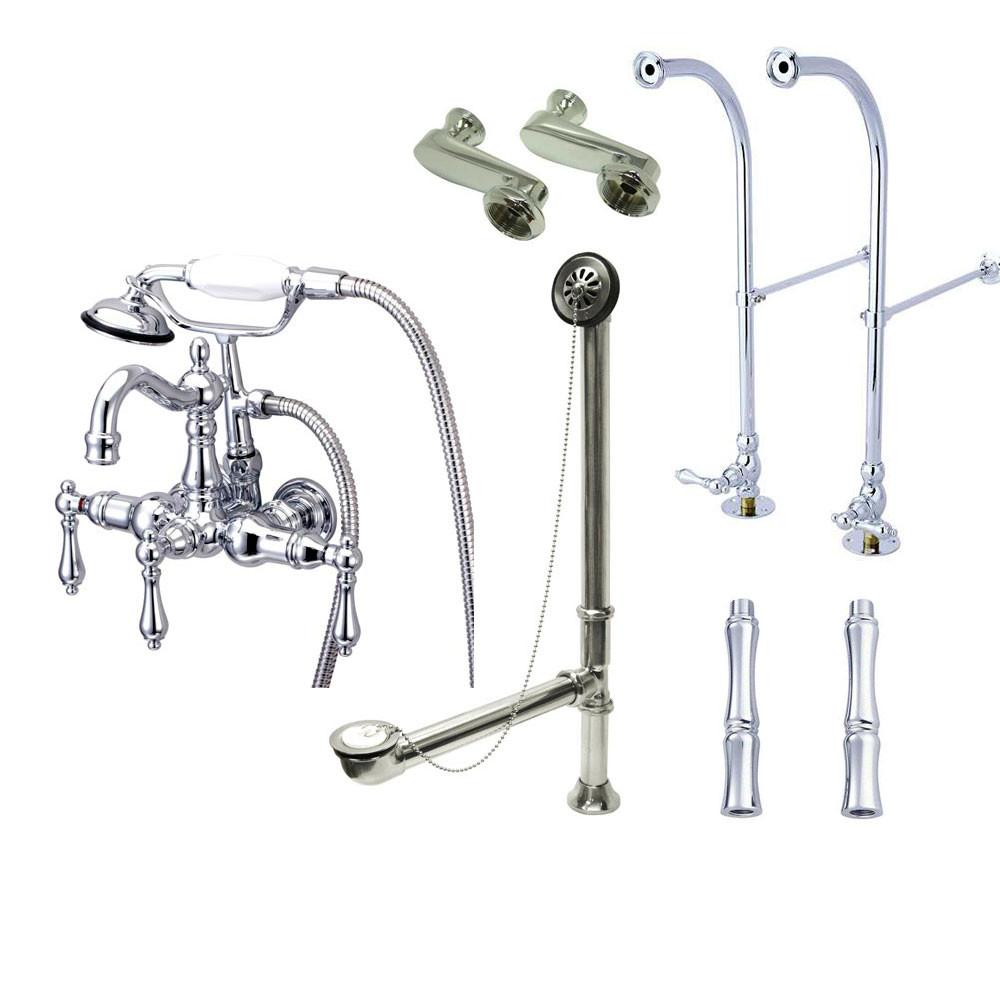 Freestanding Floor Mount Chrome Metal Lever Handle Clawfoot Tub Filler Faucet with Hand Shower Package 1008T1FSP