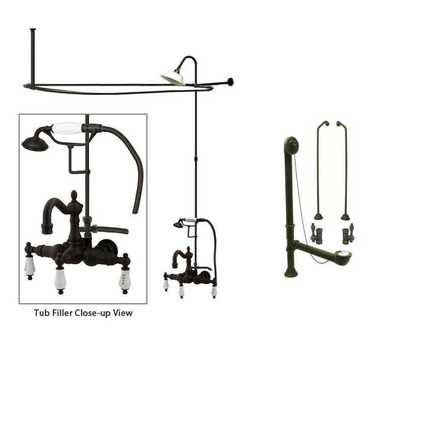 Oil Rubbed Bronze Clawfoot Tub Faucet Shower Kit with Enclosure Curtain Rod 1009T5CTS