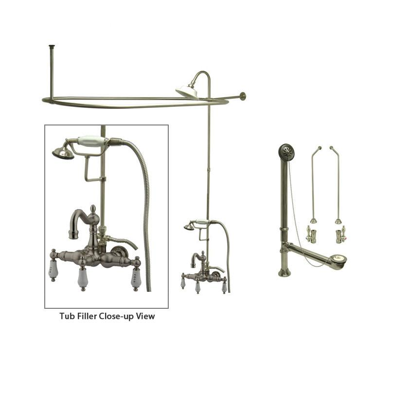 Satin Nickel Clawfoot Tub Faucet Shower Kit with Enclosure Curtain Rod 1009T8CTS