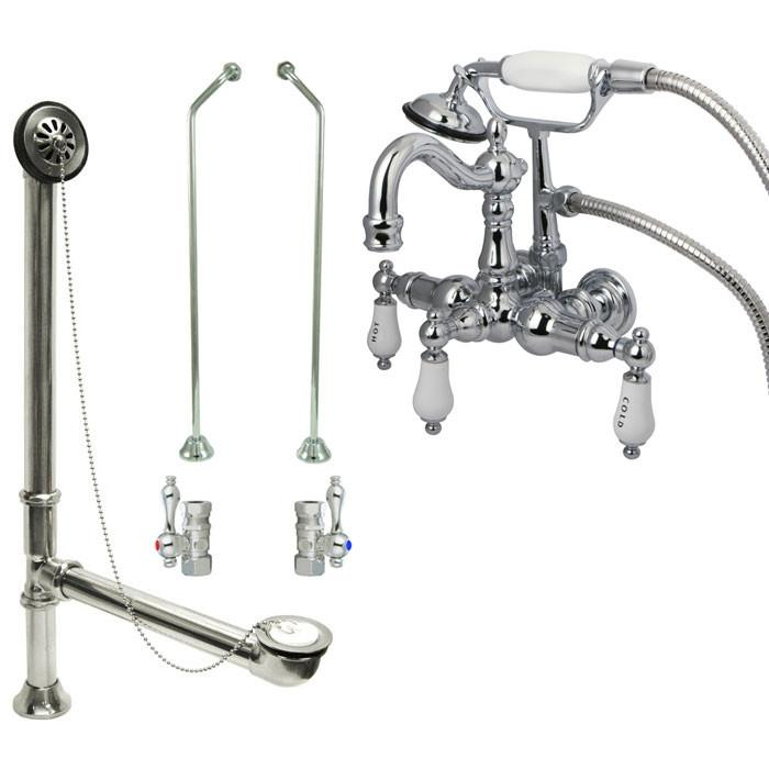 Chrome Wall Mount Clawfoot Tub Faucet w hand shower w Drain Supplies Stops CC1010T1system