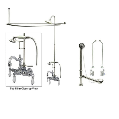 Chrome Clawfoot Tub Faucet Shower Kit with Enclosure Curtain Rod 1010T1CTS