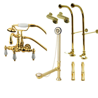 Freestanding Floor Mount Polished Brass White Porcelain Lever Handle Clawfoot Tub Filler Faucet with Hand Shower Package 1011T2FSP