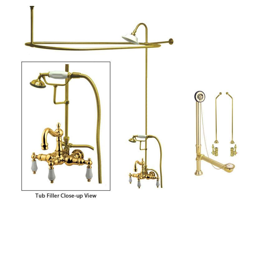 Polished Brass Clawfoot Tub Faucet Shower Kit with Enclosure Curtain Rod 1011T2CTS