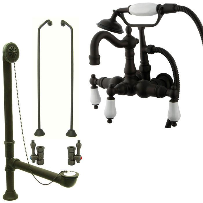 Oil Rubbed Bronze Deck Mount Clawfoot Tub Faucet Package w Drain Supplies Stops CC1011T5system