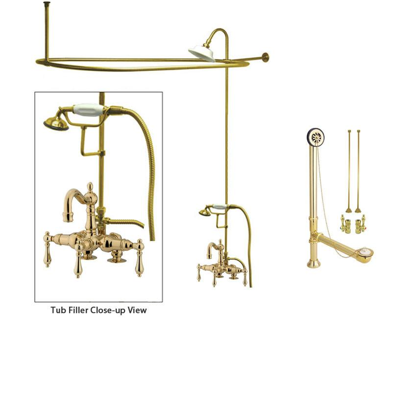Polished Brass Clawfoot Tub Faucet Shower Kit with Enclosure Curtain Rod 1013T2CTS