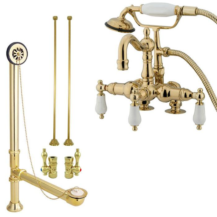 Deck Mount Clawfoot Tub Faucet.Polished Brass Deck Mount Clawfoot Tub Faucet Package W Drain Supplies Stops Cc1015t2system