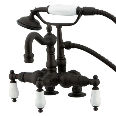 Kingston Oil Rubbed Bronze Deck Mount Clawfoot Tub Faucet w hand shower CC1015T5