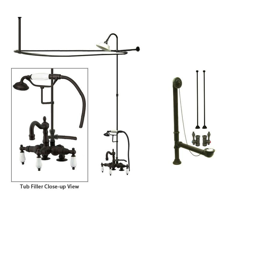 Oil Rubbed Bronze Clawfoot Bathtub Faucet Shower Kit with Enclosure Curtain Rod 1015T5CTS