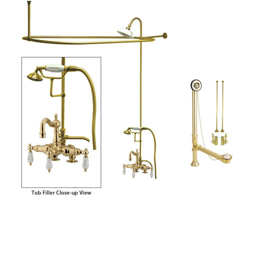 Polished Brass Clawfoot Tub Faucet Shower Kit with Enclosure Curtain Rod 1017T2CTS