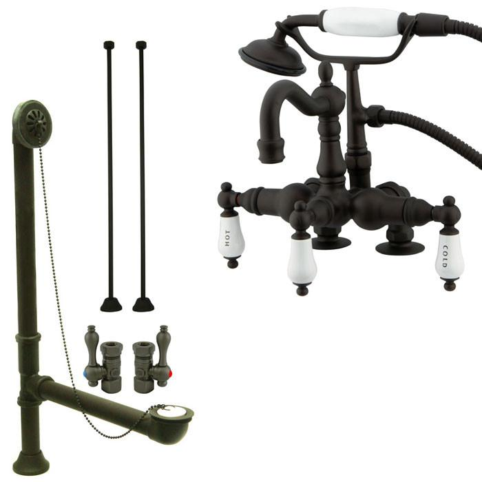 Oil Rubbed Bronze Deck Mount Clawfoot Tub Faucet Package w Drain Supplies Stops CC1017T5system