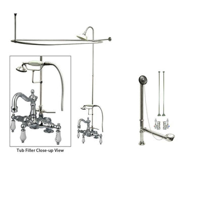 Chrome Clawfoot Tub Faucet Shower Kit with Enclosure Curtain Rod 1018T1CTS