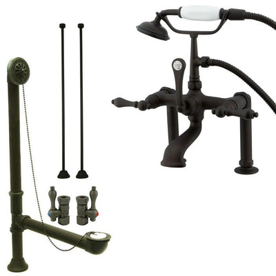 Oil Rubbed Bronze Deck Mount Clawfoot Tub Faucet Package w Drain Supplies Stops CC103T5system