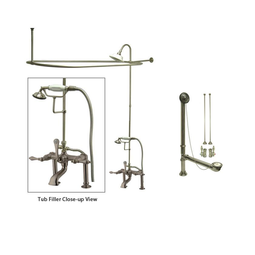 Satin Nickel Clawfoot Tub Faucet Shower Kit with Enclosure Curtain Rod 103T8CTS