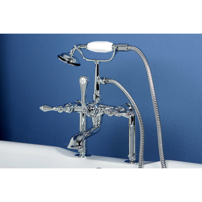 Kingston Chrome Deck Mount Clawfoot Tub Filler Faucet with Hand Shower CC104T1