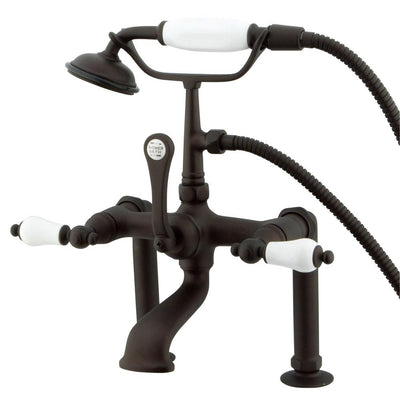 Kingston Oil Rubbed Bronze Deck Mount Clawfoot Tub Faucet w hand shower CC105T5