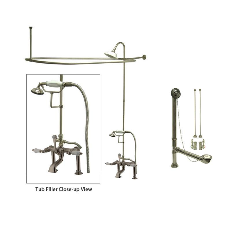 Satin Nickel Clawfoot Tub Faucet Shower Kit with Enclosure Curtain Rod 105T8CTS