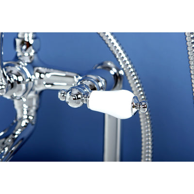 Kingston Chrome Deck Mount Clawfoot Tub Filler Faucet with Hand Shower CC106T1