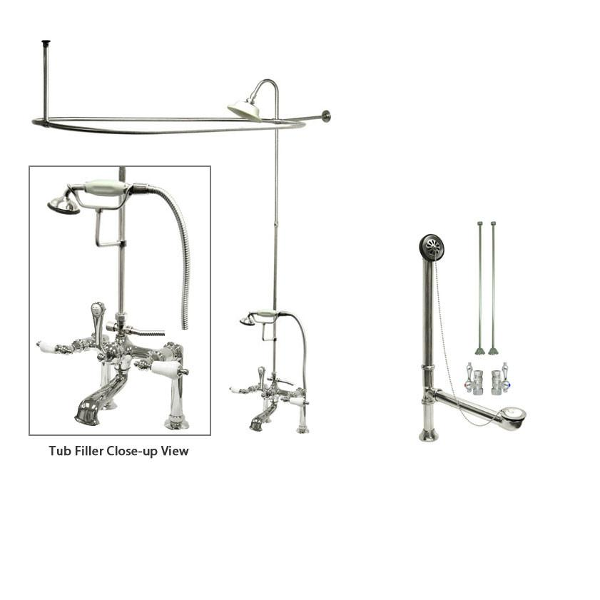 Chrome Clawfoot Tub Faucet Shower Kit with Enclosure Curtain Rod 106T1CTS