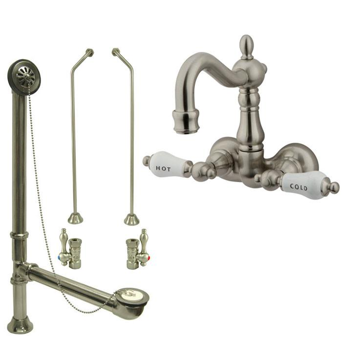 Satin Nickel Wall Mount Clawfoot Tub Faucet Package w Drain Supplies Stops CC1073T8system