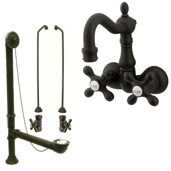 Oil Rubbed Bronze Wall Mount Clawfoot Tub Faucet Package w Drain Supplies Stops CC1077T5system