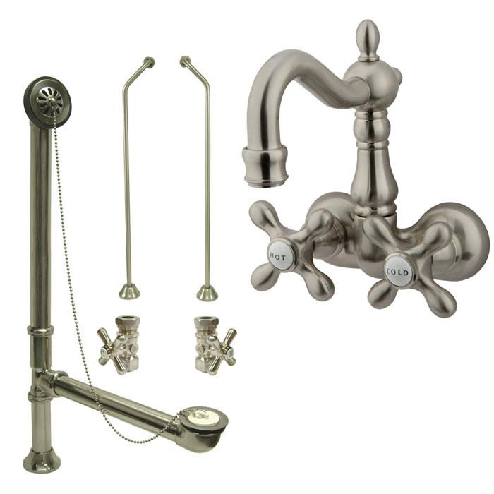 Satin Nickel Wall Mount Clawfoot Tub Faucet Package w Drain Supplies Stops CC1077T8system
