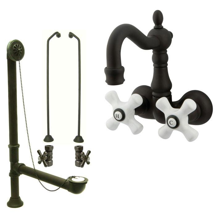 Oil Rubbed Bronze Wall Mount Clawfoot Tub Faucet Package w Drain Supplies Stops CC1079T5system