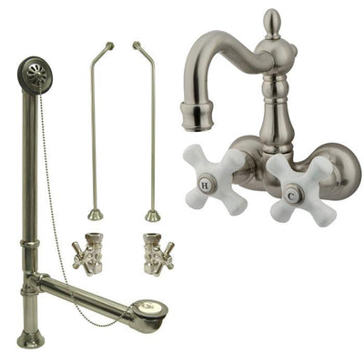 Satin Nickel Wall Mount Clawfoot Tub Faucet Package w Drain Supplies Stops CC1079T8system