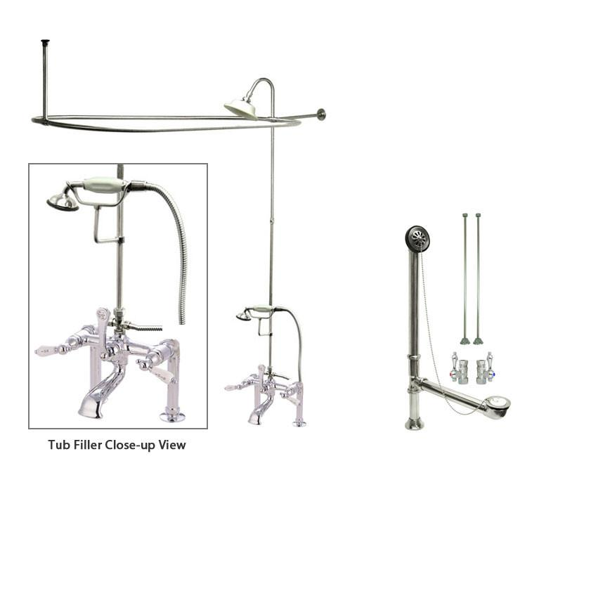 Chrome Clawfoot Tub Shower Faucet Kit with Enclosure Curtain Rod 108T1CTS