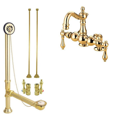 Polished Brass Deck Mount Clawfoot Tub Faucet Package w Drain Supplies Stops CC1091T2system