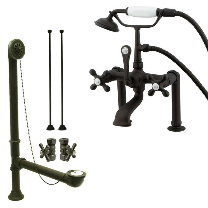 Oil Rubbed Bronze Deck Mount Clawfoot Tub Faucet Package w Drain Supplies Stops CC109T5system