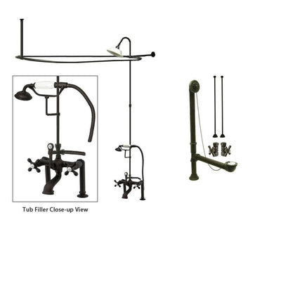 Oil Rubbed Bronze Clawfoot Tub Faucet Shower Kit with Enclosure Curtain Rod 109T5CTS