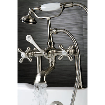 Kingston Satin Nickel Deck Mount Clawfoot Tub Faucet with Hand Shower CC109T8